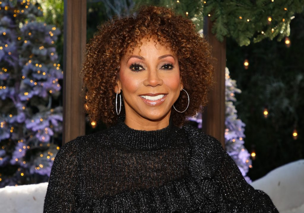 """Holly Robinson Peete visits Hallmark Channel's """"Home & Family"""" at Universal Studios Hollywood on November 17, 2020 in Universal City, California."""