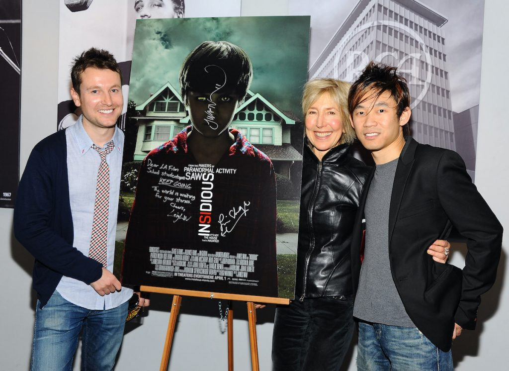 Writer/actor Leigh Whannell and Lin Shaye with 'Insidious' and 'The Conjuring' director James Wan