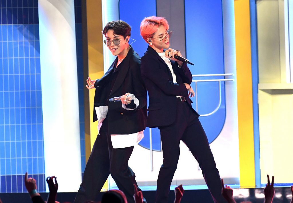 J-Hope and Jimin of BTS perform on stage during the 2019 Billboard Music Awards
