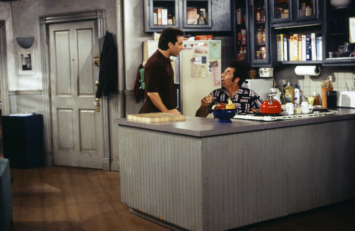 Jerry Seinfeld and Kramer in Jerry's apartment while filming 'The Finale'