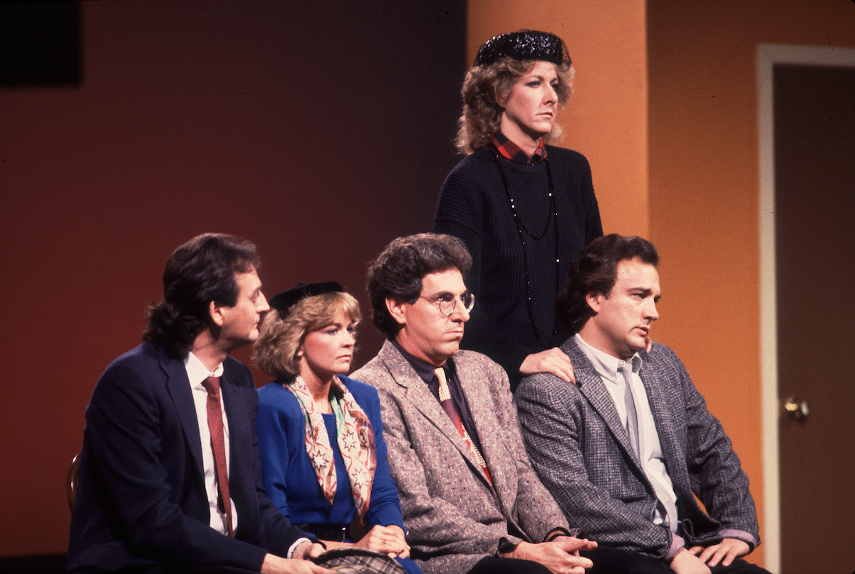 Joe Flaherty, Deborah McGrath, Harold Ramis, Betty Thomas, and Jim Belushi at the Second City 25th Anniversary Concert in 1979