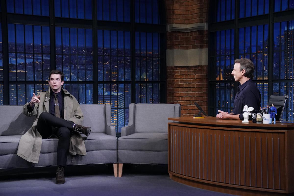 John Mulaney and host Seth Meyers on Late Night With Seth Meyers
