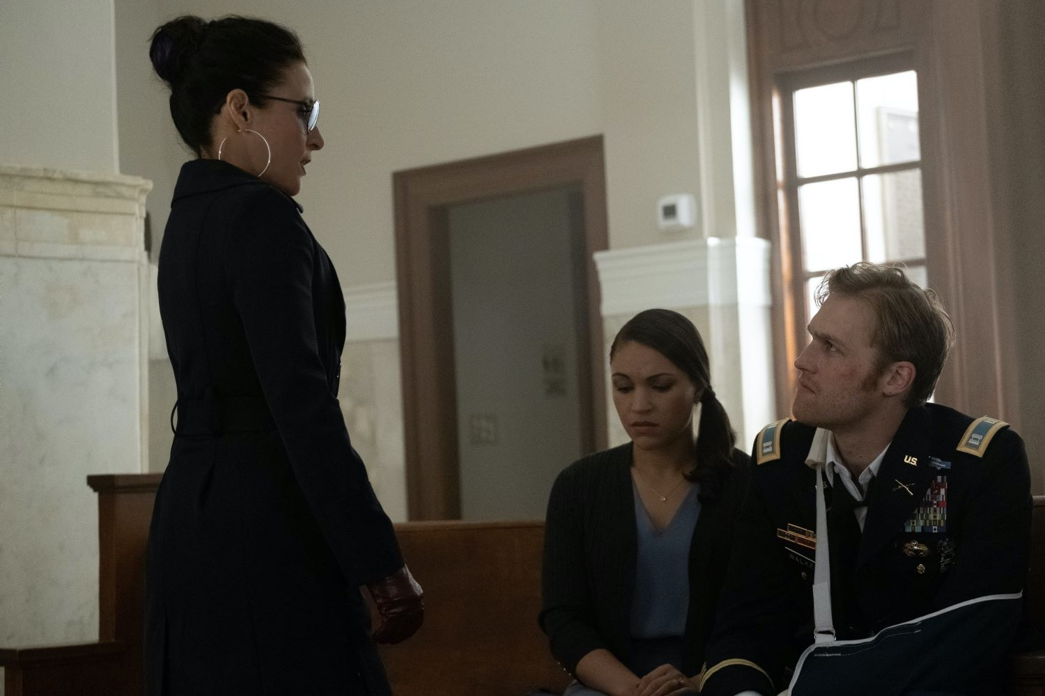 Julia Louis-Dreyfus, Wyatt Russell, and Gabrielle Byndloss in Marvel's 'The Falcon and the Winter Soldier'