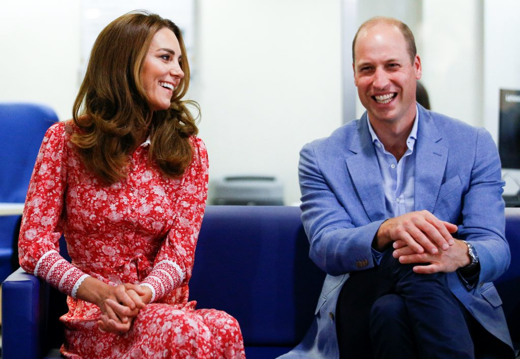 (L-R) Kate Middleton and Prince William laughing