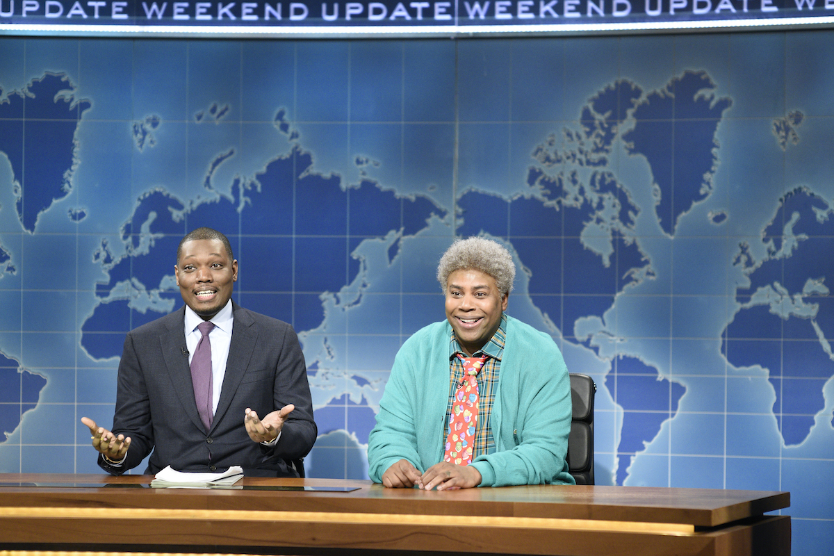 Michael Che and Kenan Thompson as Michael's Neighbor Willie during 'Weekend Update'