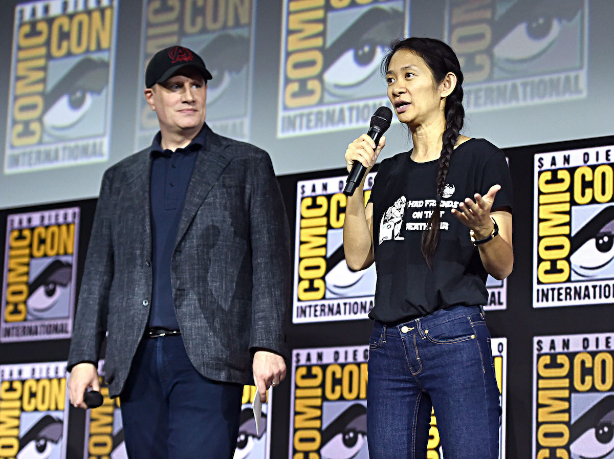 President of Marvel Studios Kevin Feige and director Chloe Zhao of 'Eternals' at the 2019 San Diego Comic-Con International