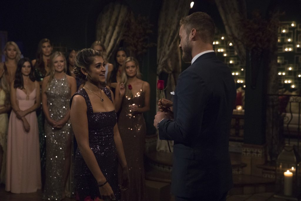 Kirpa Sudick meeting Colton Underwood on 'The Bachelor' with the other women behind them