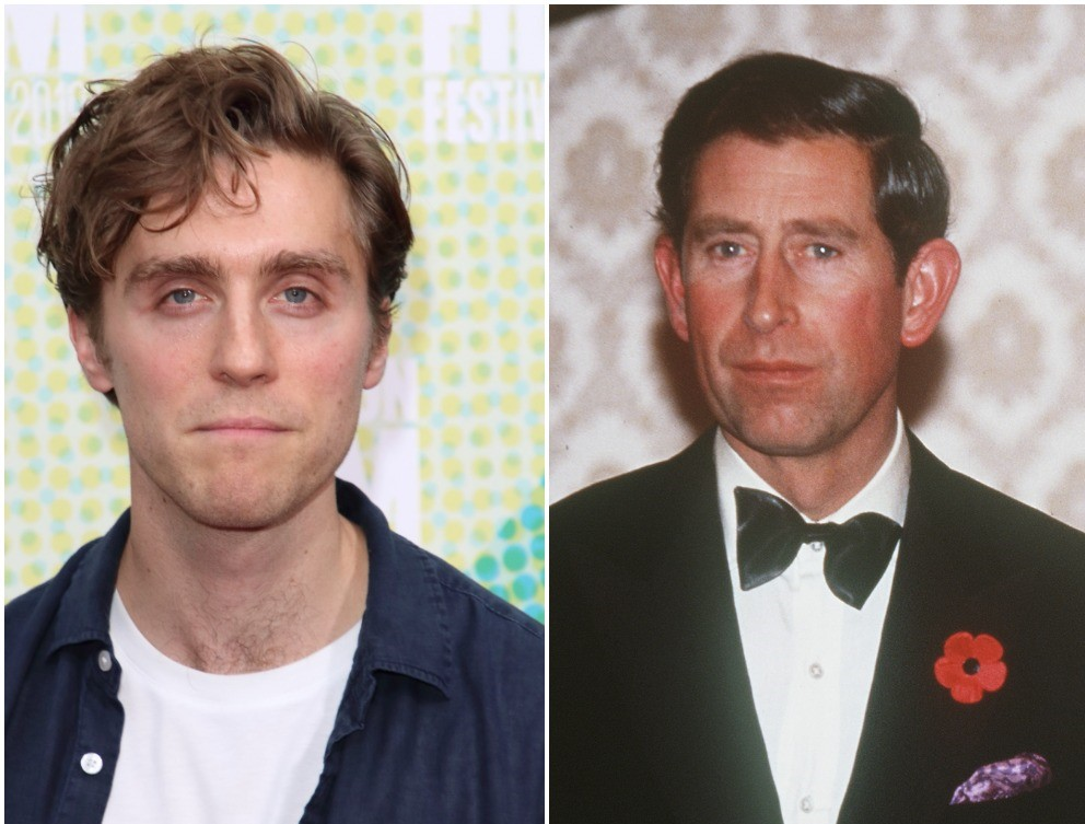 (L) Actor Jack Farthing dressed casually at the premiere in London, (R) Prince Charles wearing a tuxedo at a banquet in 1992