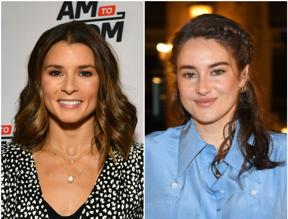 (L): Former NASCAR driver Danica Patrick dress in a black-and-white top for event in NYC, (R): Actor Shaliene Woodley attending fashion show in light blue denim top