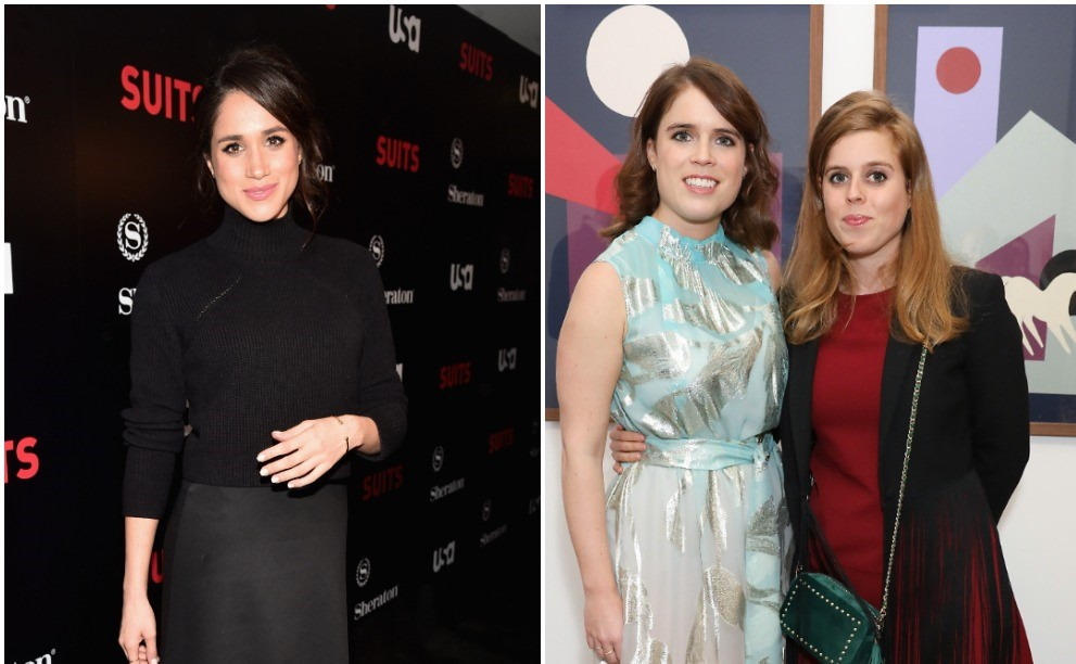 (L) Meghan Markle on red carpet at premiere, (R) Sisters Princess Eugenie and Princess Beatrice posing together at an art exhibit