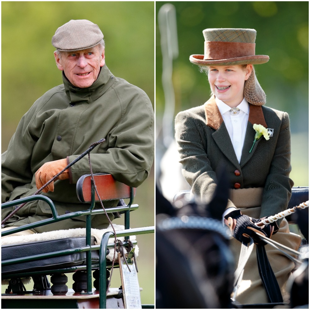 (L) Prince Philip sitting in carriage before competition, (R) Lady Louise Windsor sitting carriage and taking part in event