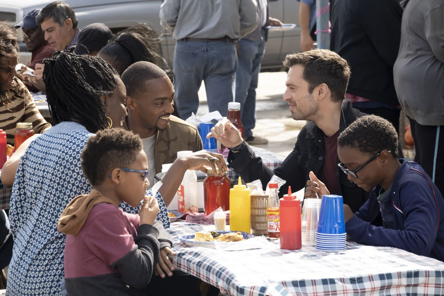 (L-R) Adepuro Oduye, Anthony Mackie, and Sebastian Stan in 'The Falcon and the Winter Soldier'