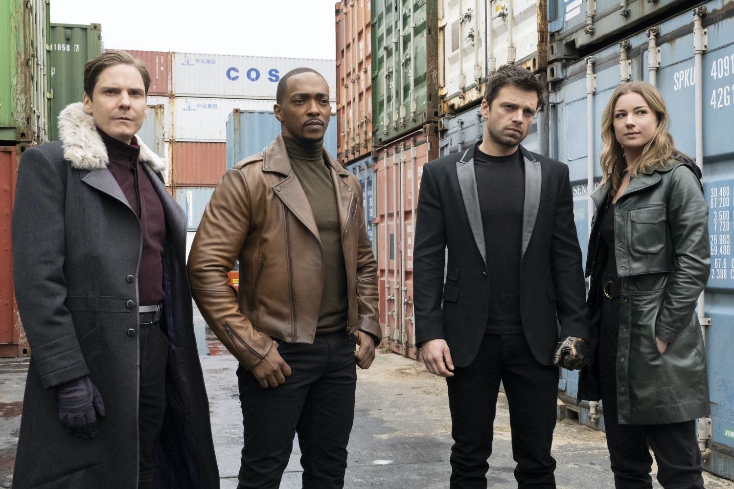 L-R Daniel Bruhl, Anthony Mackie, Sebastian Stan, and Emily VanCamp in 'The Falcon and the Winter Soldier'