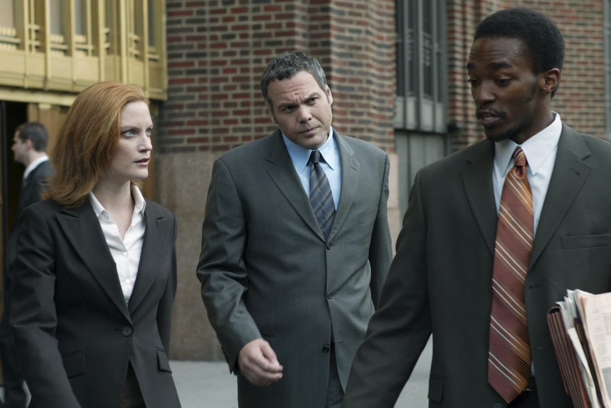 Samantha Buck, Vincent D'Onofrio, and Anthony Mackie in 'Law & Order: Criminal Intent' season 3 episode titled 'Pravda'