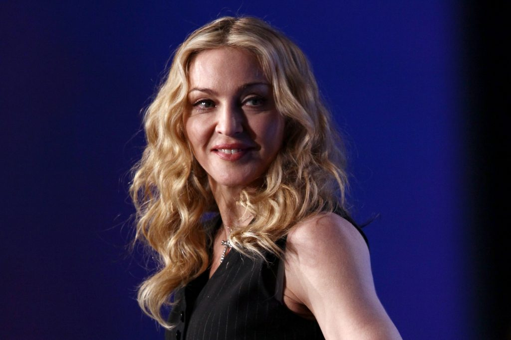 Madonna during a press conference for the Bridgestone Super Bowl XLVI halftime show in 2012