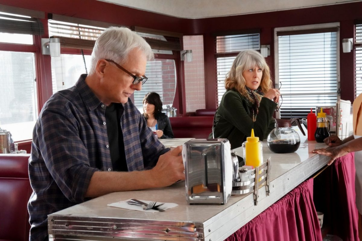 Mark Harmon and Pam Dawber during a scene on 'NCIS'
