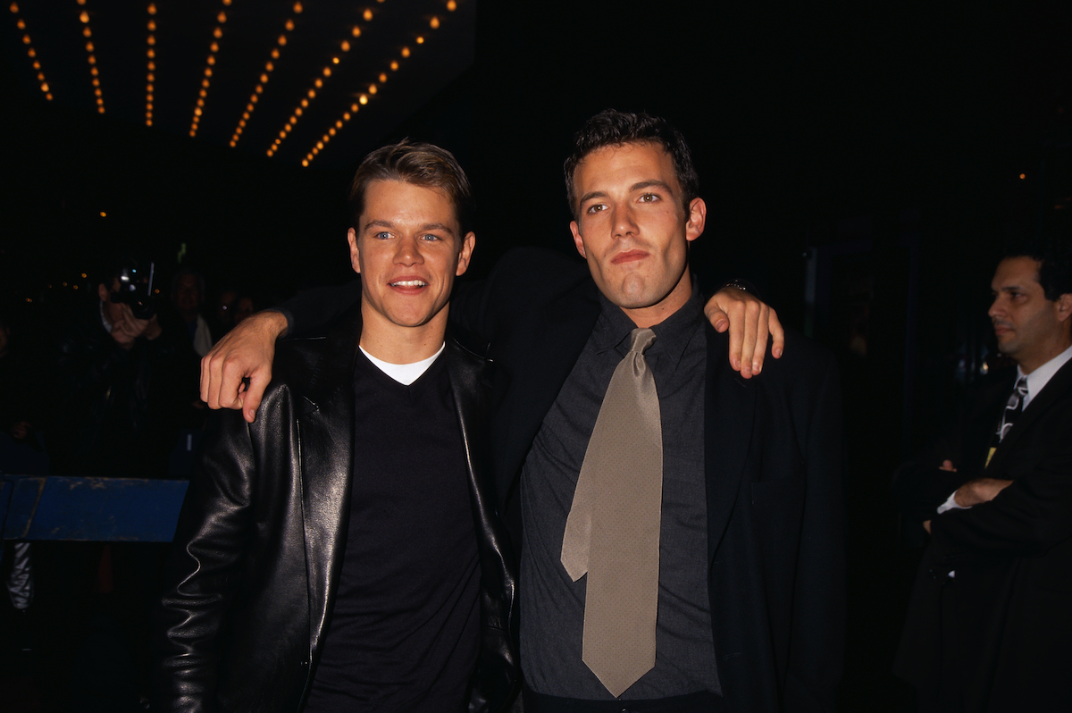 Matt Damon and Ben Affleck attend the Good Will Hunting premiere in 1997