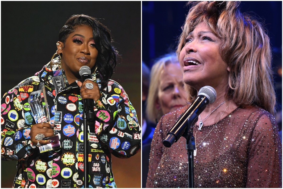 (L-R): Missy Elliott accepting an award, Tina Turner at her Broadway musical