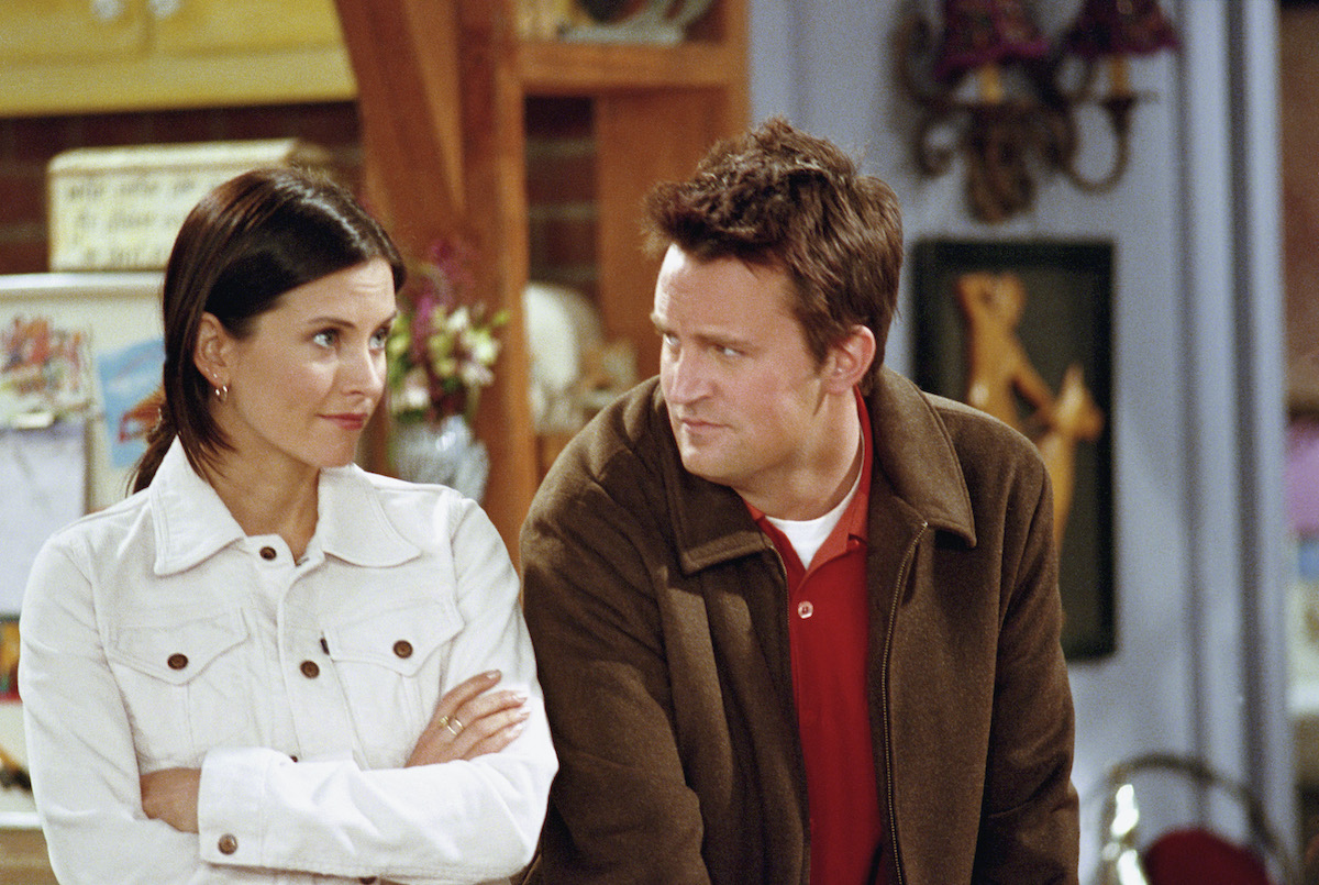 Monica and Chandler on an episode of Friends