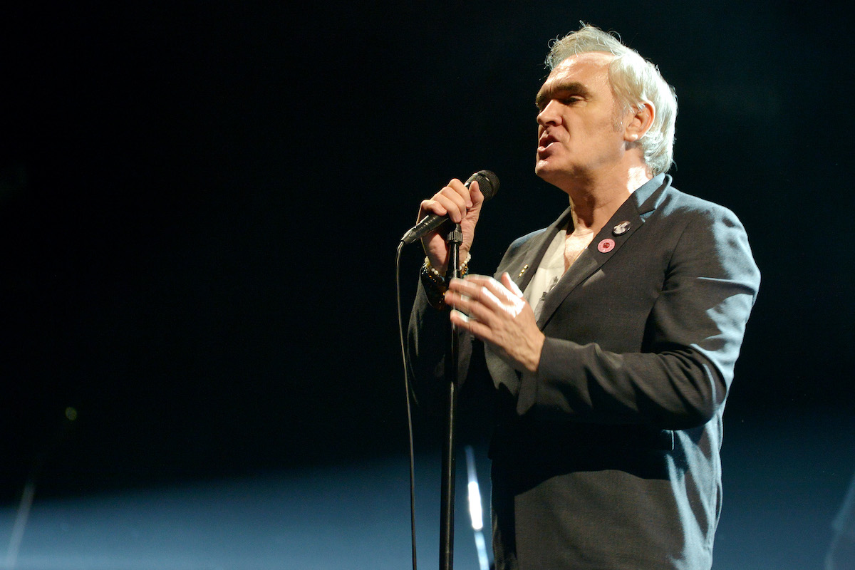 Morrissey performs live on stage in March 2020