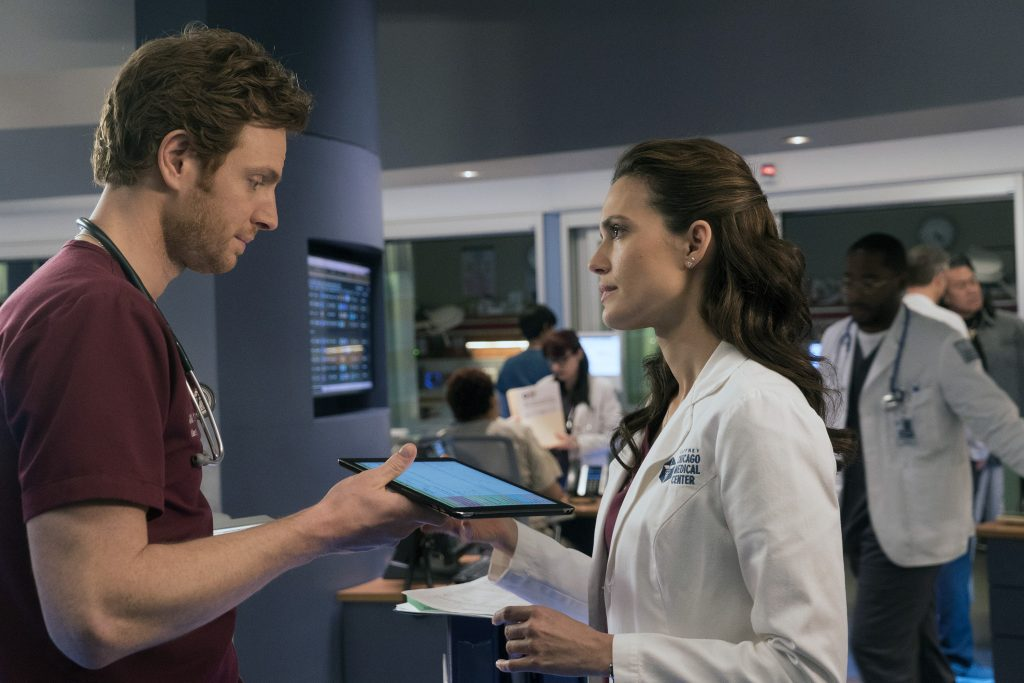 Nick Ghelfuss and Will Halstead and Torrey DeVitto as Natalie Manning