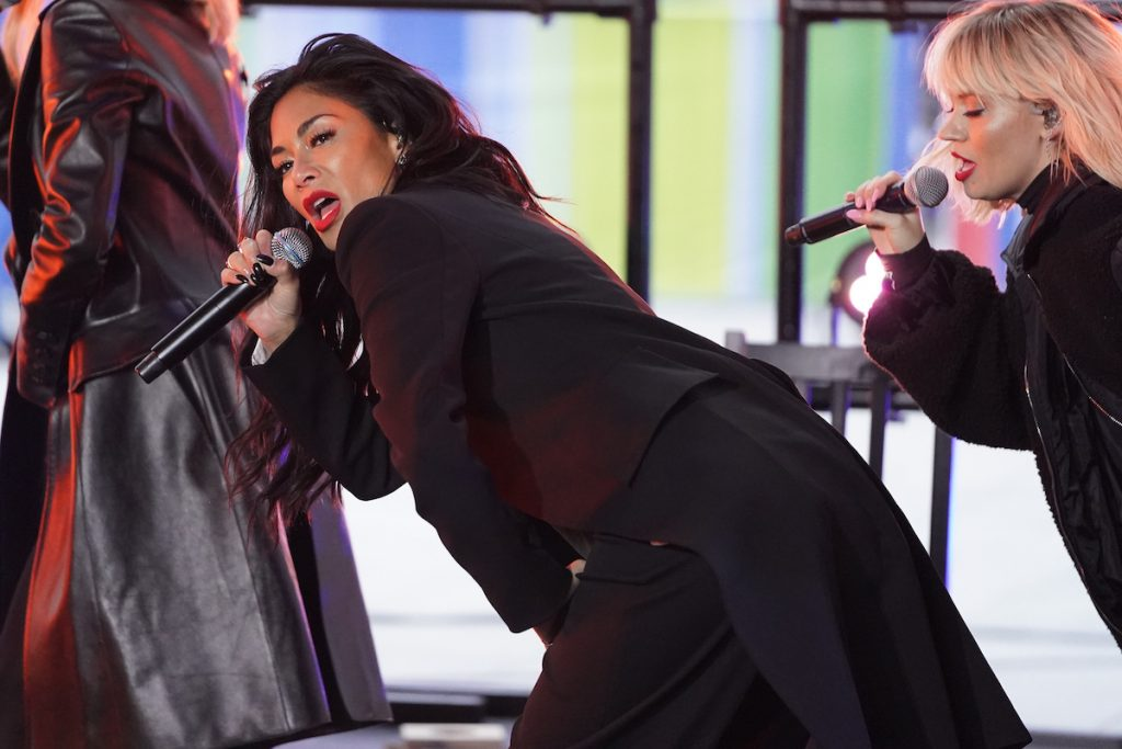 Nicole Scherzinger rehearsing at BBC Studios for 'The One Show' on February 26, 2020, in London, England