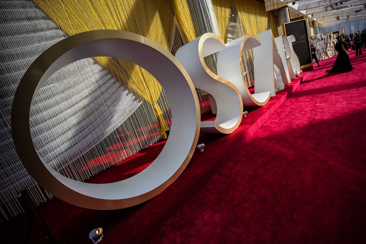 The Oscars sign and decorations are seen on the red carpet at the 92nd Oscars at the Dolby Theatre in Hollywood, Calif. in 2020