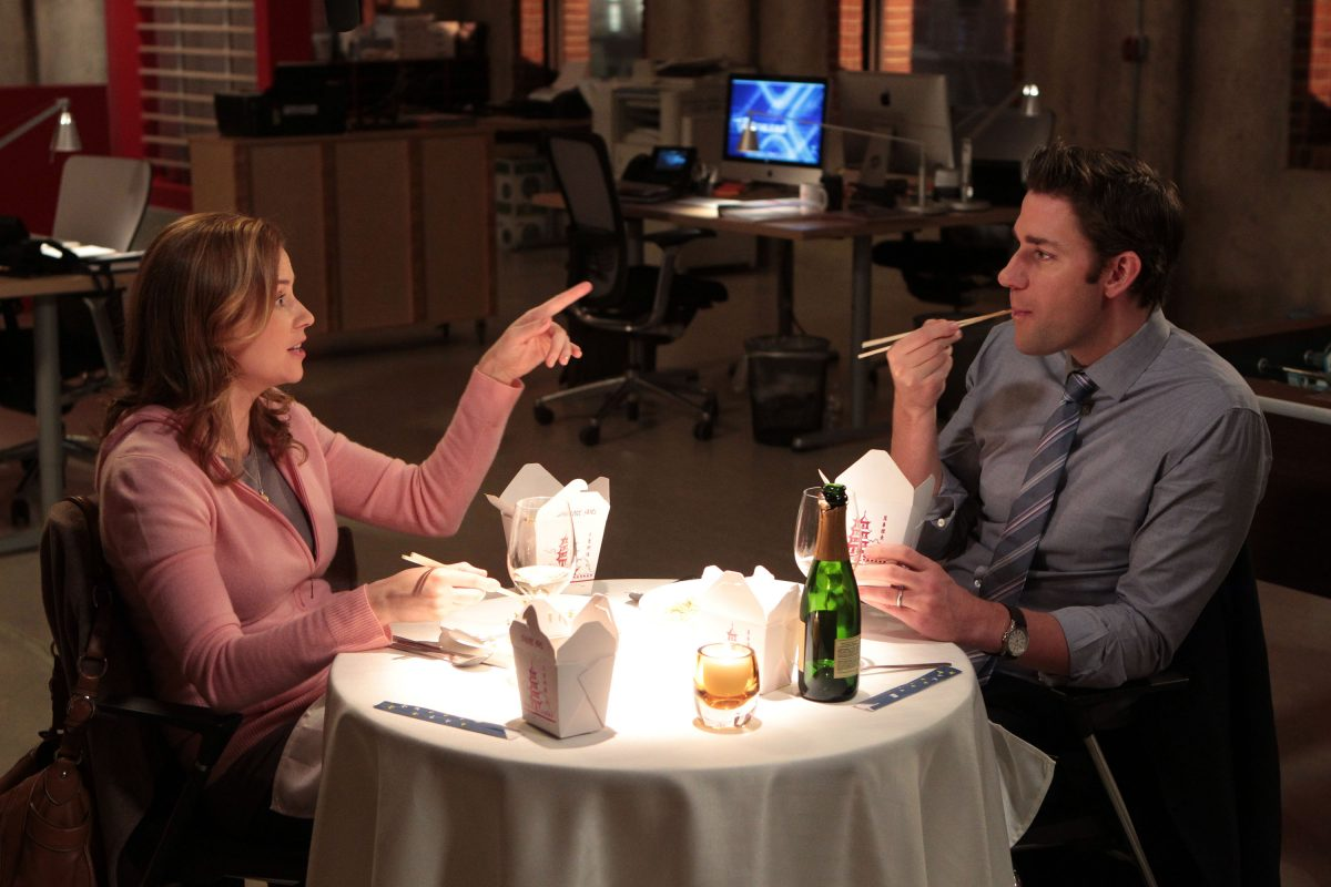 Pam and Jim eating Chinese food in Jim's office in 'Moving On'