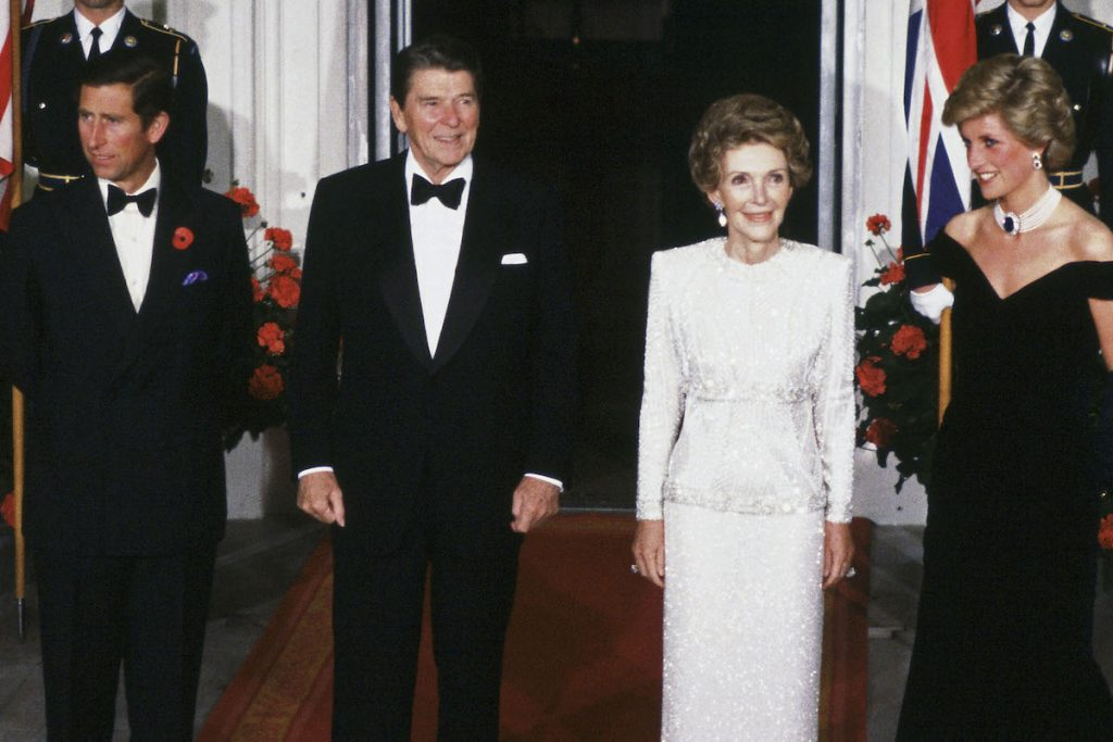 Prince Charles, the Prince of Wales and Princess Diana, the Princess of Wales, President Ronald Reagan and First Lady Mrs Nancy Reagan smile for a photo at the White House