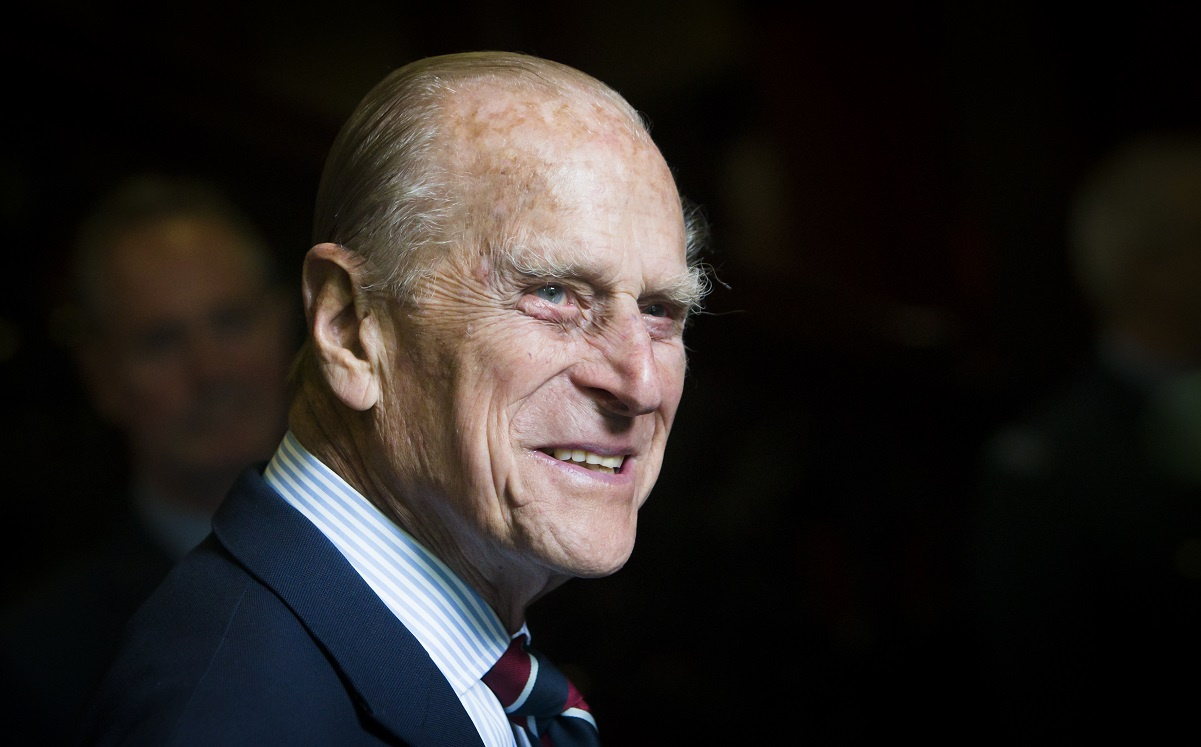 Prince Philip smiles during a visit to the headquarters of the Royal Auxiliary Air Force's 603 Squadron in Edinburgh, Scotland