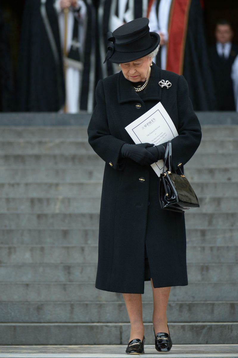 Queen Elizabeth Queen Elizabeth II departs the Ceremonial funeral of former British Prime Minister Baroness Thatcher at St Paul's Cathedral