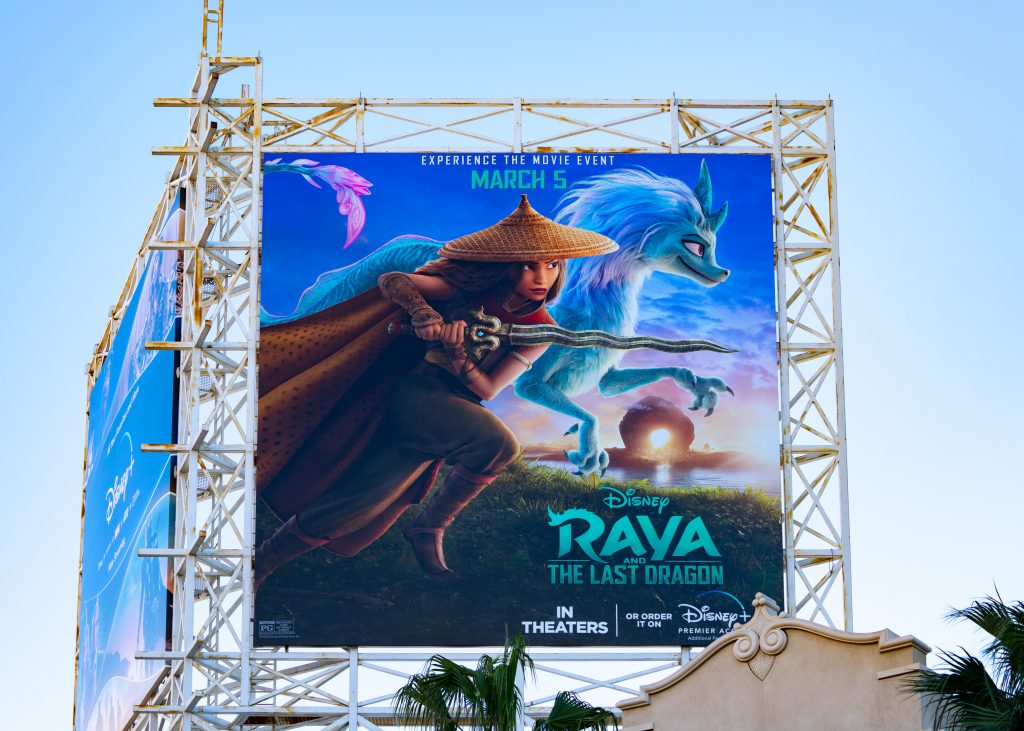 Billboard above the El Capitan Entertainment Centre promoting Walt Disney Pictures 'Raya and the Last Dragon'
