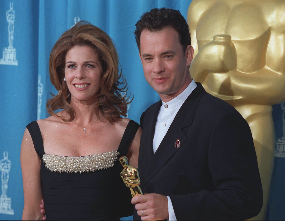 Tom Hanks is joined by his wife, Rita Wilson, at the 1995 Academy Awards ceremony in Los Angeles