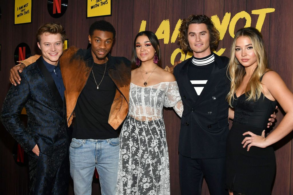 Rudy Pankow, Jonathan Daviss, Madison Bailey, Chase Stokes and Madelyn Cline of 'Outer Banks' attend Netflix's 'I Am Not Okay With This' Photocall