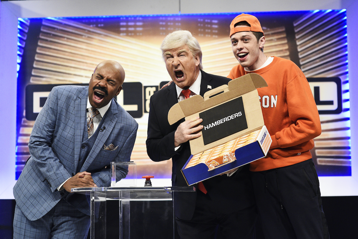 Kenan Thompson, Alec Baldwin, and Pete Davidson during a 'Saturday Night Live' sketch in 2019