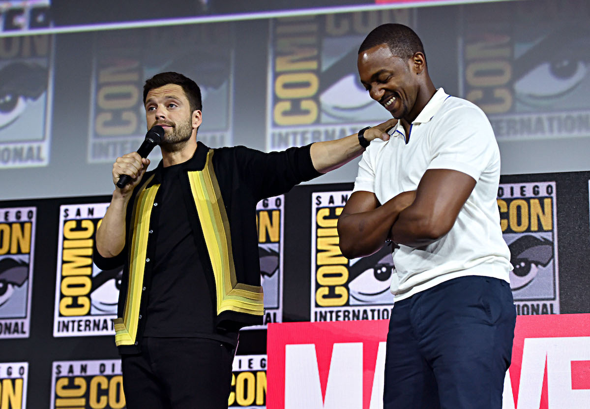 Sebastian Stan and Anthony Mackie of Marvel Studios' 'The Falcon and The Winter Soldier' at the San Diego Comic-Con International 2019 in San Diego, Calif.