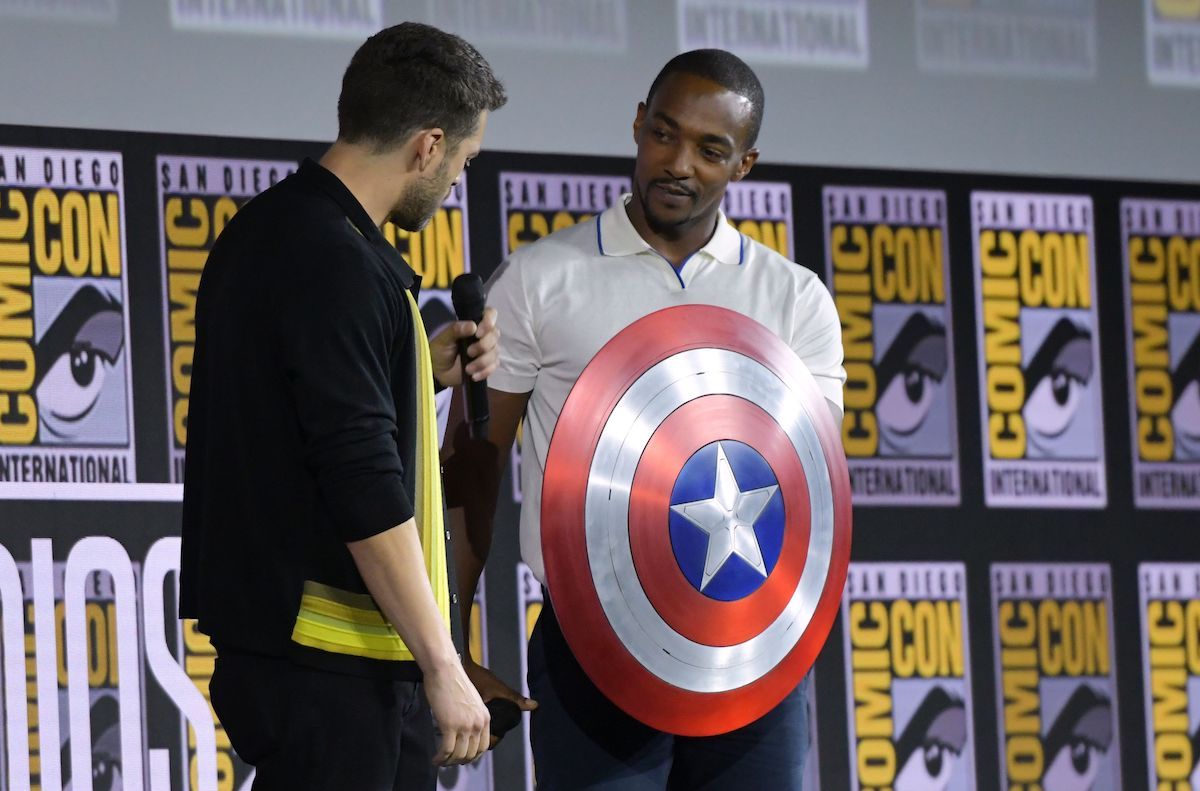 Sebastian Stan and Anthony Mackie speak onstage during the Marvel panel at the 2019 Comic-Con International in San Diego, Calif.