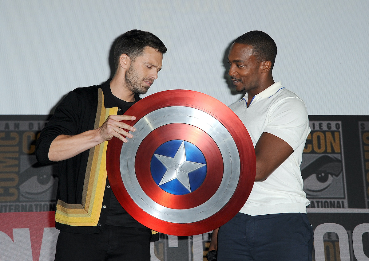 Sebastian Stan and Anthony Mackie speak at the Marvel Studios Panel during 2019 Comic-Con International in San Diego, Calif.