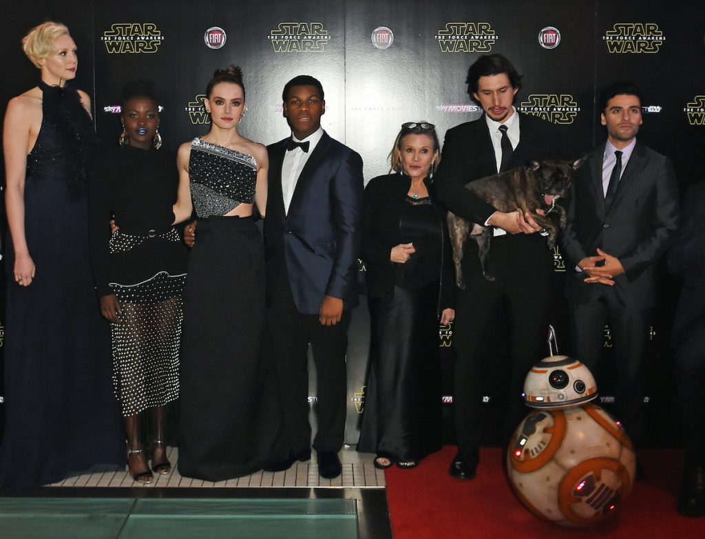 Gwendoline Christie, Lupita Nyong'o, Daisy Ridley, John Boyega, Carrie Fisher, Adam Driver and Oscar Isaac at the premiere of 'Star Wars: The Force Awakens'