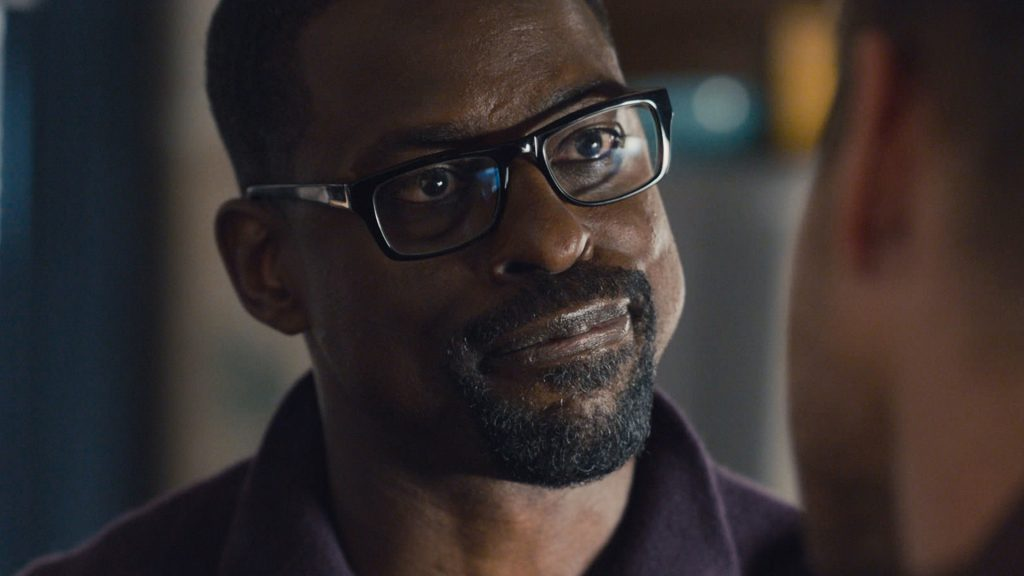 Sterling K. Brown as Randall Pearson smiling in 'This Is Us' Season 5 Episode 13, 'Brotherly Love.'