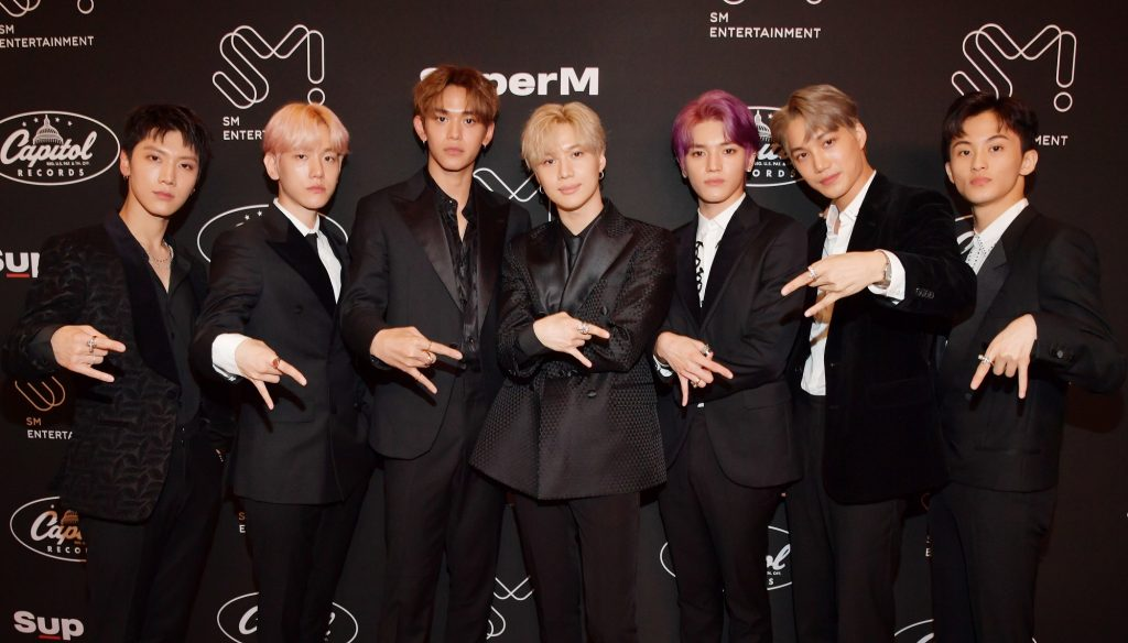 Ten, Baekhyun, Lucas, Taemin, Taeyong, Kai, and Mark of K-pop group SuperM attend Premiere Event Live From Capitol Records in 2019