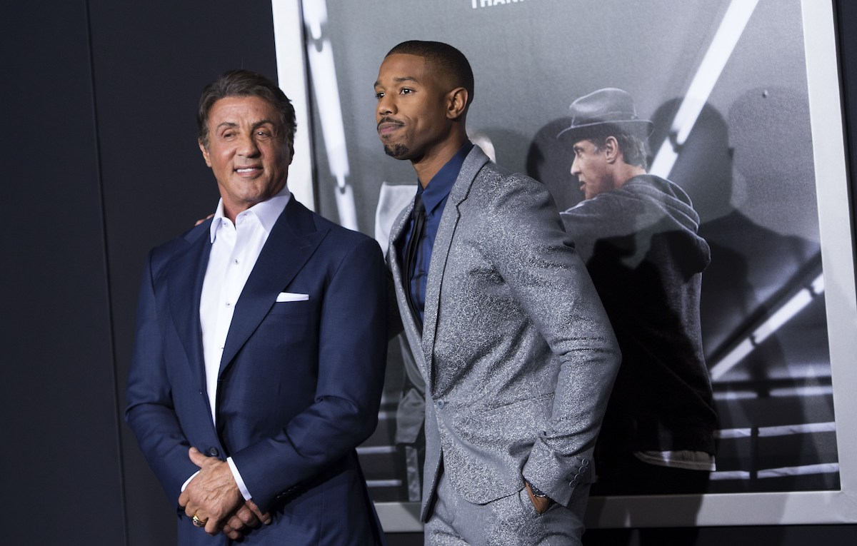 'Creed' stars Sylvester Stallone and Michael B. Jordan at the movie's world premiere in 2015