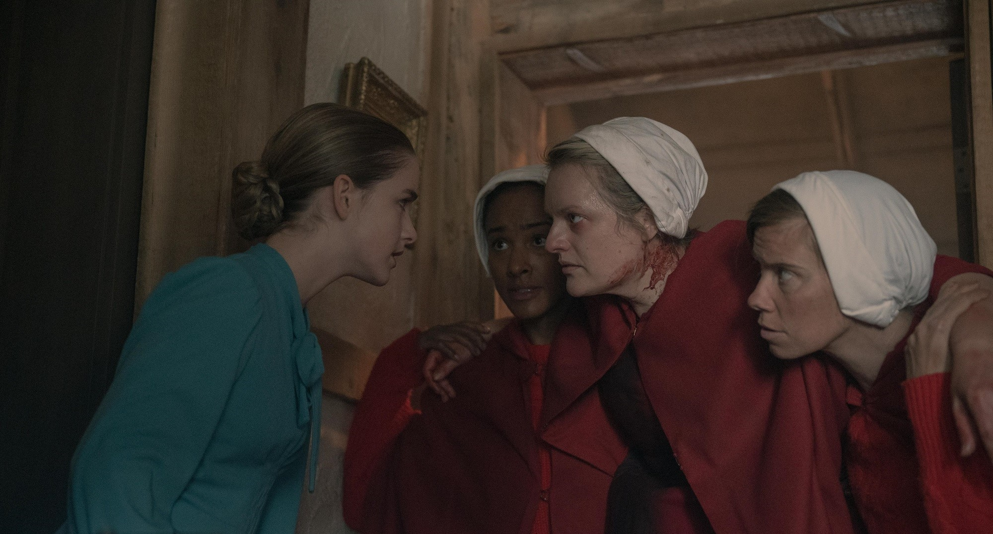 Mckenna Grace and Elisabeth Moss in season 4 episode 1 of 'The Handmaid's Tale'