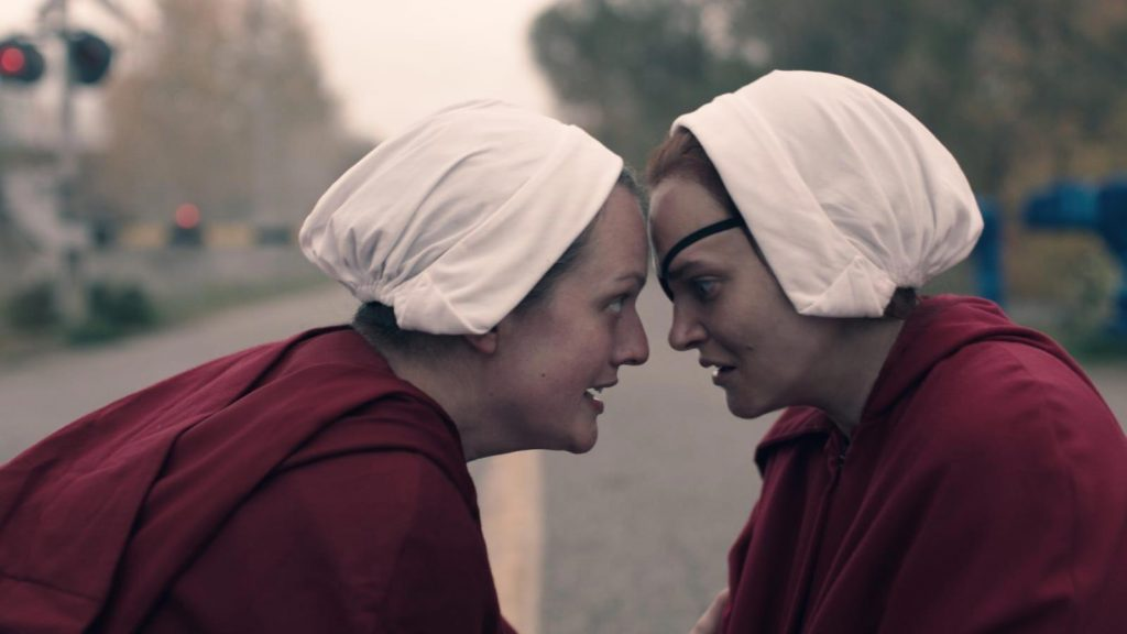 June placing her forehead against Janine's in 'The Handmaid's Tale' Season 4