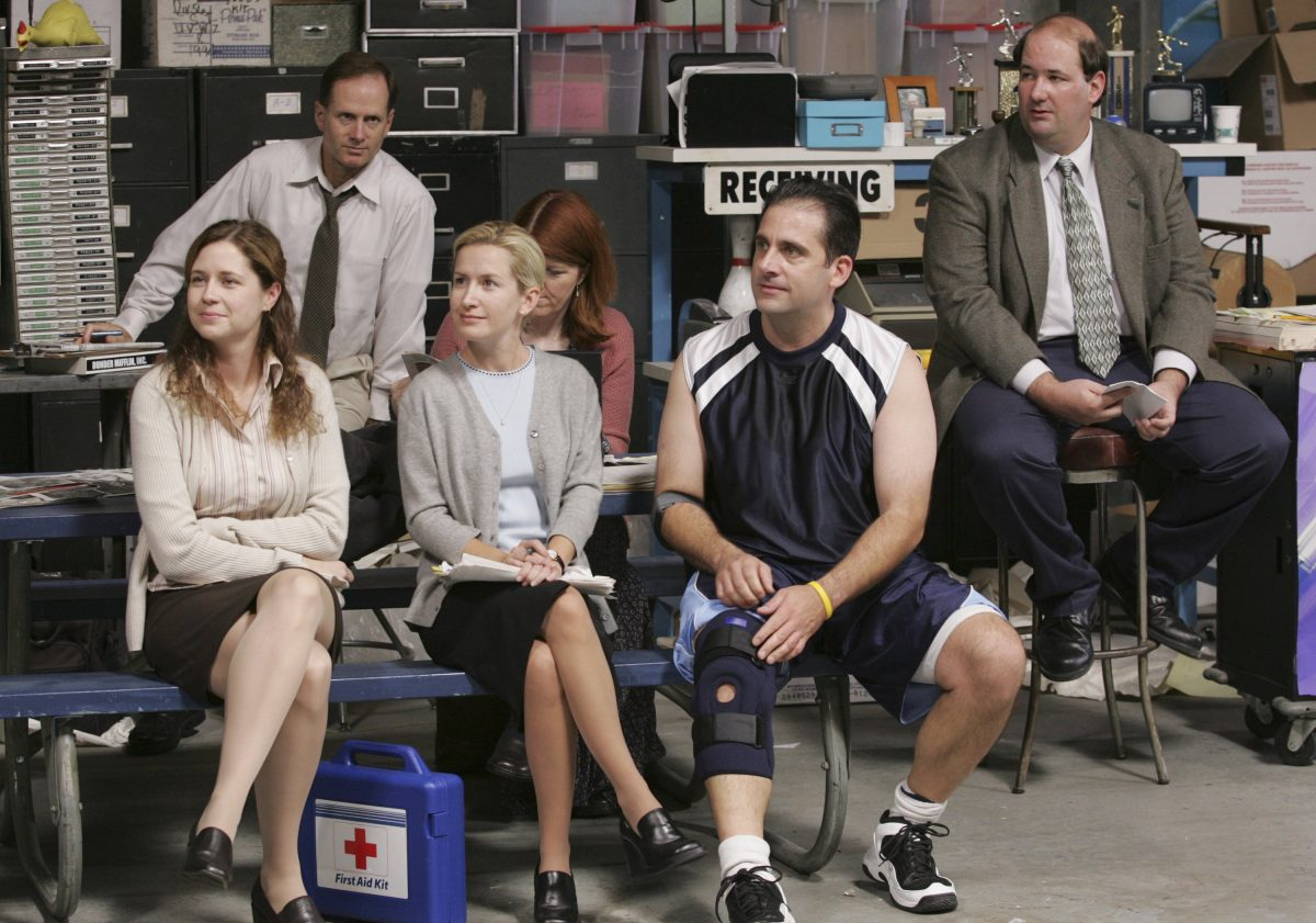 Jenna Fischer as Pam Beesly, Devon Abner as Devon, Angela Kinsey as Angela Martin, Kate Flannery as Meredith Palmer, Steve Carell as Michael Scott, and Brian Baumgartner as Kevin Malone in the 'Basketball' episode of 'The Office'