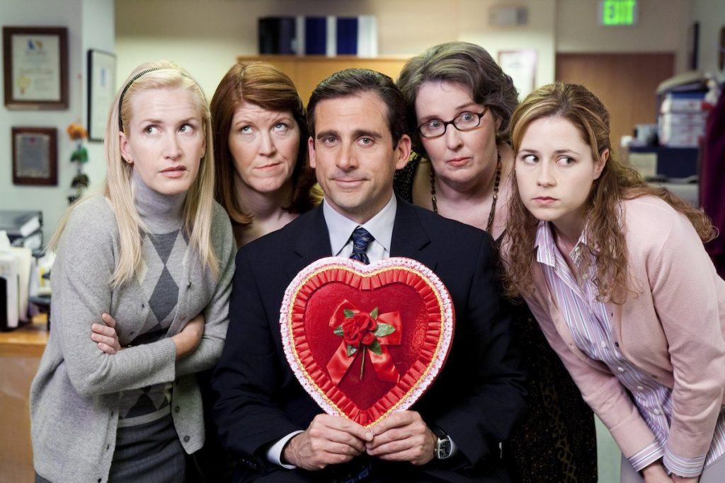 Angela Kinsey, Kate Flannery, Steve Carell, Phyllis Smith, and Jenna Fischer from 'The Office'