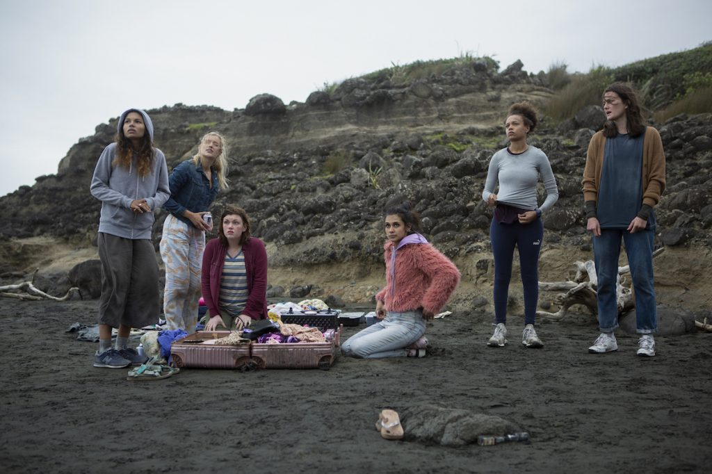 The cast of 'The Wilds' season 2 on set for season 1