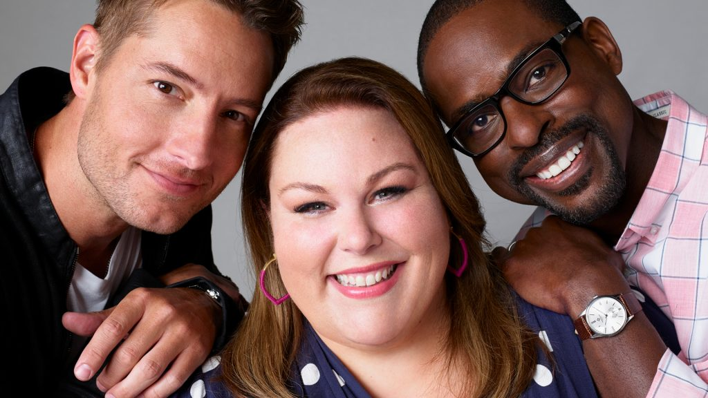 Headshot of 'This Is Us' cast members Justin Hartley, Chrissy Metz, and Sterling K. Brown, who play Kevin, Kate, and Randall Pearson