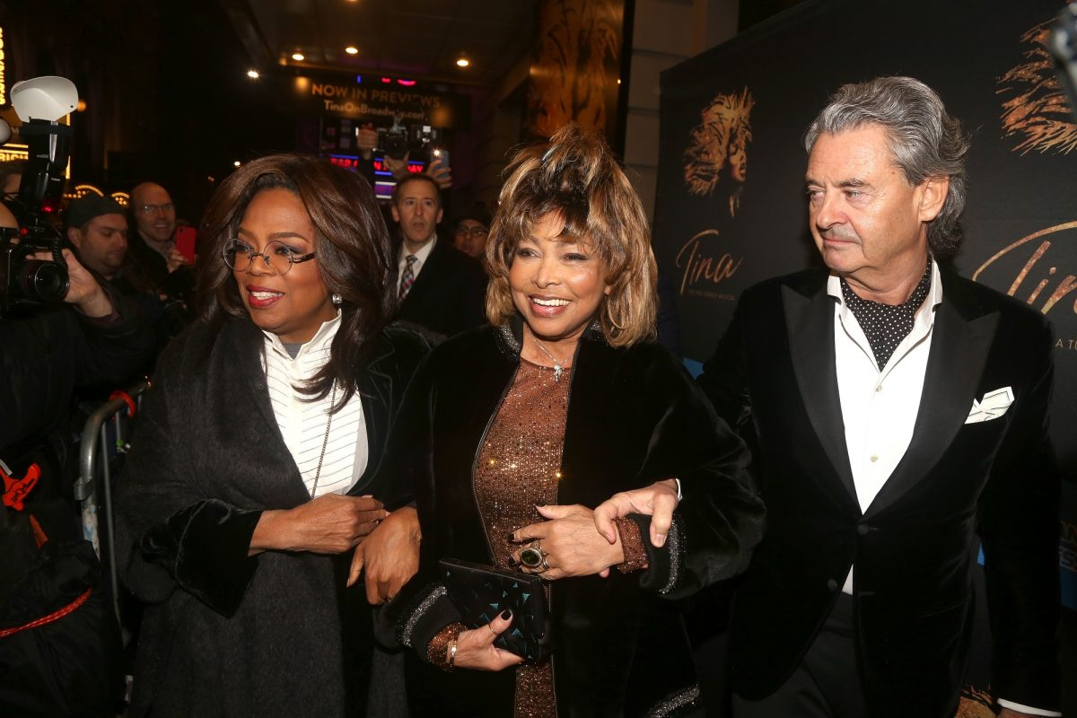 Tina Turner and Erwin Bach with Oprah Winfrey at the premiere of Tina the musical