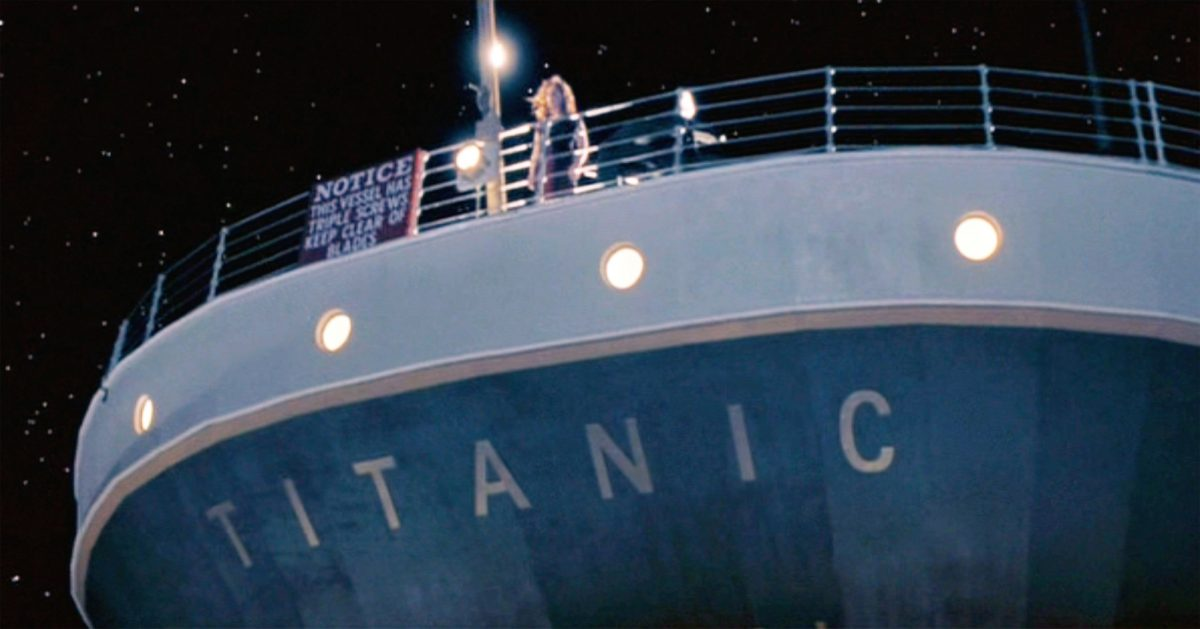 Titanic stern with Kate Winslet on deck